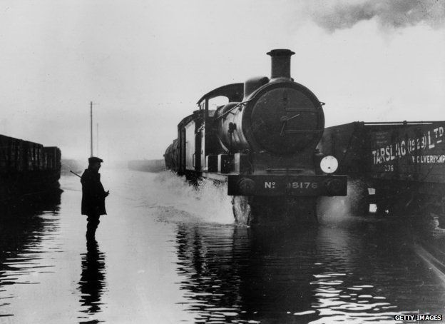 Stratford railway works in the 1928 flood